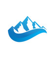 mountain 3d wave logo image vector image vector image