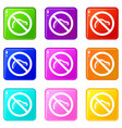 no caterpillar sign icons 9 set vector image vector image