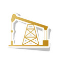 oil drilling rig sign golden gradient vector image vector image
