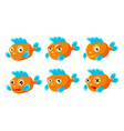 orange fish with different emotions set cute sea vector image vector image