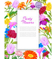 party invitation with summer flowers bouquet with vector image vector image