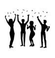 people having fun with confetti party shadow theme vector image vector image