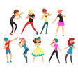 people singing with microphones set male and vector image vector image