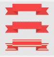 red ribbon banners on gray background vector image vector image