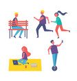 running people and freelancer vector image vector image