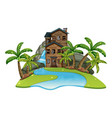 scene with old wooden house by river vector image vector image