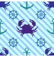 Seamless pattern with crab steering wheel and vector image vector image