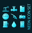 set gas blue glowing neon icons vector image
