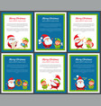 set of banners with santa claus and pretty elf vector image vector image