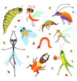 set of funny cartoon insects isolate on white vector image vector image