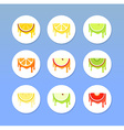 Set of Round Fruit Icons vector image vector image