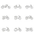 set with different types of motorcycles and mopeds vector image