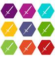 sword icon set color hexahedron vector image vector image