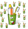 toothbrush and toothpaste in a cup - cartoon with vector image vector image