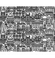 tourist attractions cityscape seamless pattern vector image