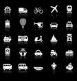 transportation icons with reflect on black vector image vector image