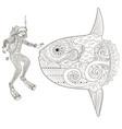underwater diver in zentangle style vector image vector image