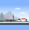 urban landscape with town or village with private vector image