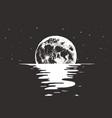 view to full moon at night sea vector image vector image