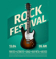 vintage rock festival flyer with electric guitar vector image
