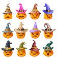 witch hat decoration halloween jack o lantern vector image