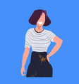 woman painter in dark apron standing pose vector image