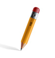 wooden pencil with eraser isolated on white vector image