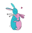 cute rabbits a basket of carrots and a bird vector image