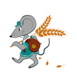 Little mouse with wheat on a white background vector image
