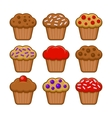 Muffin Icon Set Blueberry Chocolate and Cherry vector image