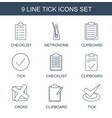 9 tick icons vector image vector image