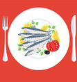 A of grill prepared sardines fish with lemon and vector image
