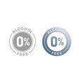 alcohol free icon for cosmetic product or medical vector image vector image