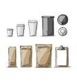 Bag packaging and take away coffee cups vector image vector image