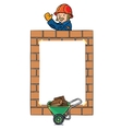 Banner or frame with wall and construction worker vector image