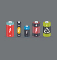 battery cylinder elements with lightning vector image