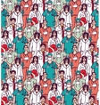 Big group doctors seamless pattern color vector image
