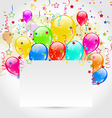 Birthday card with multicolored balloons and vector image vector image