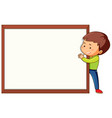boy with blank frame template vector image vector image