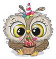 cartoon owl with horn a unicorn and a vector image vector image