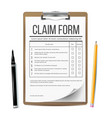 claim form business document accident snd vector image vector image