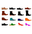 collection of various types of shoes isolated vector image