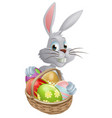 eggs basket white easter bunny vector image