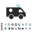 Emergency Car Flat Icon With Bonus vector image vector image