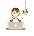 Female brown-haired Disc Jockey radio station vector image vector image