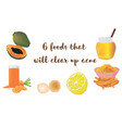 foods to clear up acne vector image