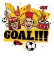 football fans design cheerful celebrating goal vector image vector image