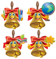 Funny school bell with school accessories vector image vector image