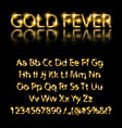 golden english alphabet on a black background vector image vector image