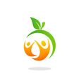 health people fruit fitness logo vector image vector image